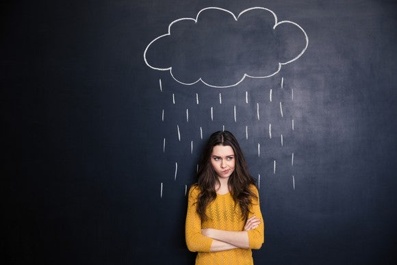 Unpleased young woman with raincloud drawn over her on a blackboard background standing with arms crossed.