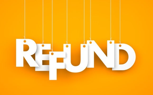 The word refund in white letters on an orange background, with each letter hanging from a string