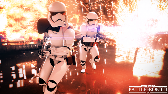 Star Wars stormtroopers fighting a battle