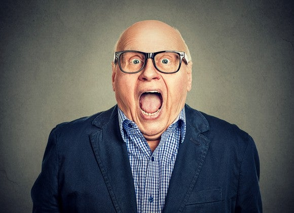 surprised older man, with mouth open wide