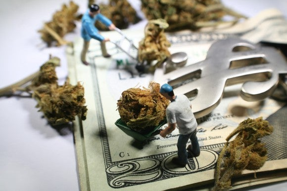 Tiny figures of people pushing marijuana buds in wheelbarrows on top of money