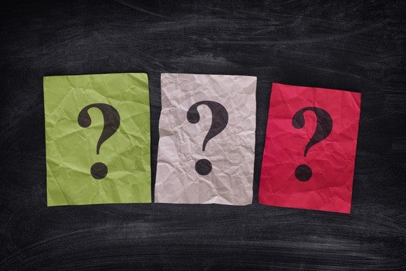 Three large question marks on colored sheets of paper