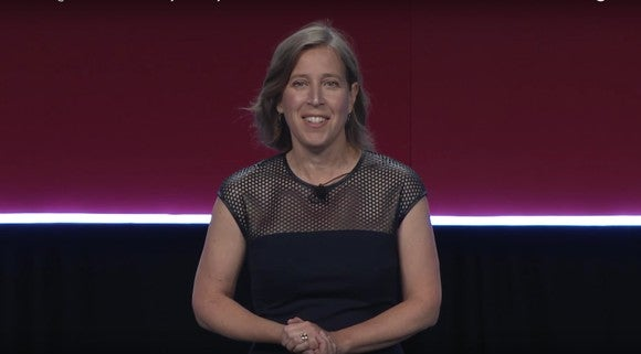 YouTube CEO Susan Wojcicki speaking on a stage