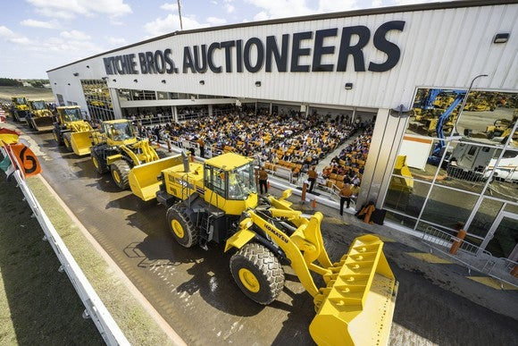 Wheel loaders selling at an RBA auction in Orlando, Florida