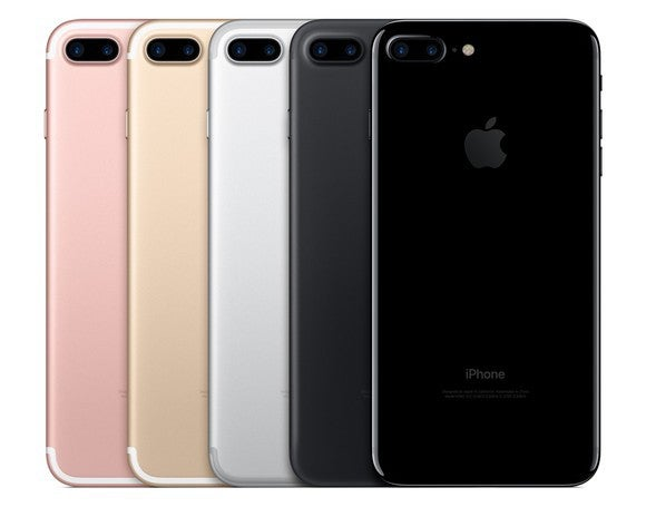 The back of five iPhone 7 Plus' in various colors lined up.