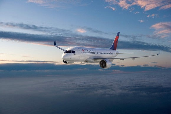 A rendering of a CS100 jet in the Delta Air Lines livery