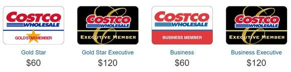 Costco cards and membership prices
