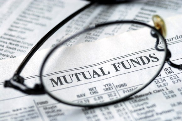 Lens of a pair of glasses in front of Mutual Funds page of the newspaper.
