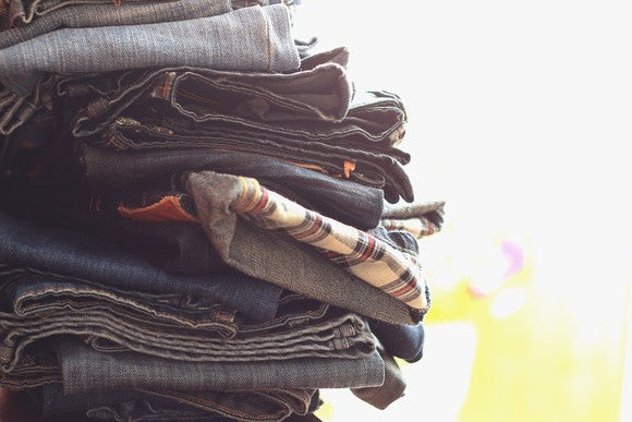 Pile of folded jeans