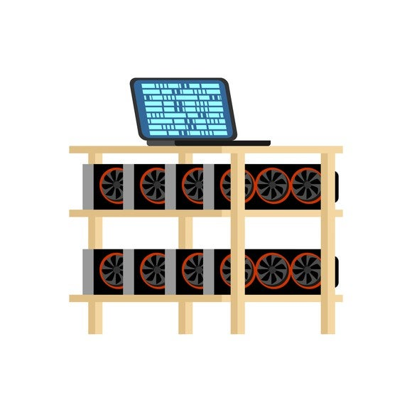 GPU cryptocurrency mining rig -- a laptop computer sitting on top of a table with a mining rig underneath showing multiple graphics cards.