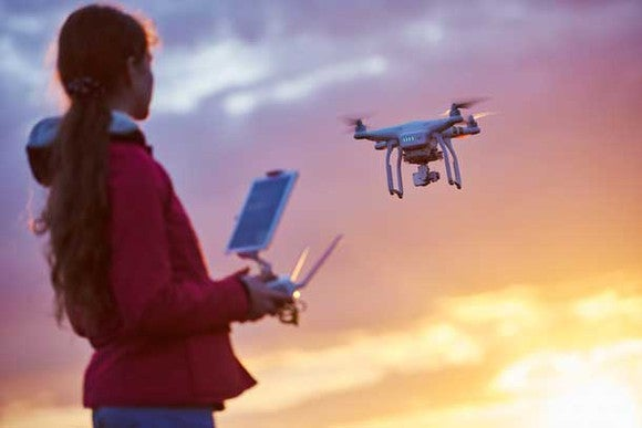 A woman flying a drone.