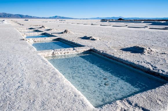 Pools of lithium-containing brine evaporating in the sun.