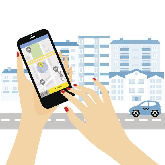 A cartoon woman's fingers pushing a button on a ridesharing app.