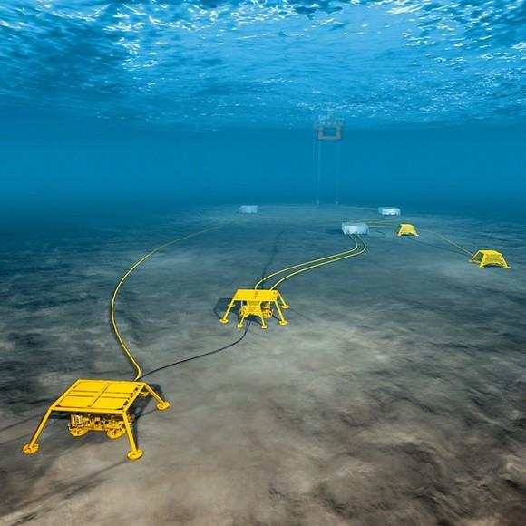 Sensor array under ocean surface.