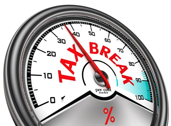 spedometer-like gauge, labeled tax break in red