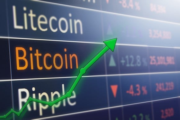 A rising green chart in front of digital price quotes for Litecoin, bitcoin, and Ripple.