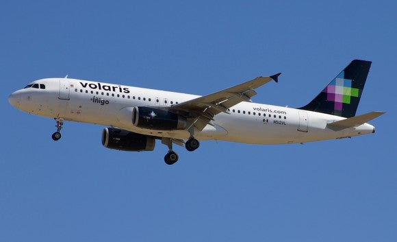 A Volaris airplane in flight under blue skies