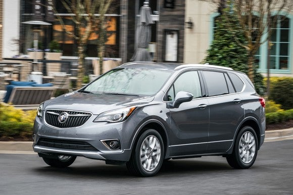 A silver 2019 Buick Envision compact SUV.