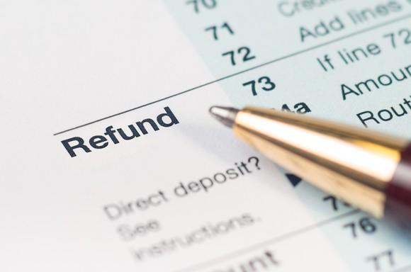 Refund line on tax form