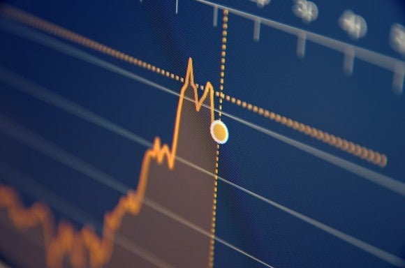 A blue stock chart with an orange line going up in a zigzag pattern.