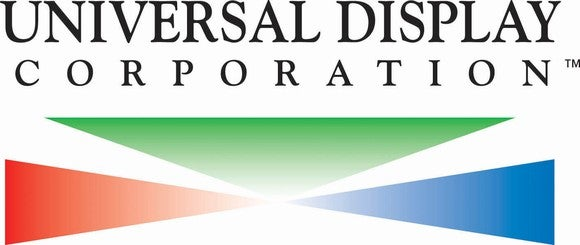 Universal Display text logo with a red, green, and blue triangle design below