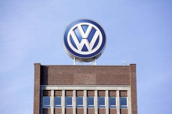 """A close-up of the """"VW"""" sign at the top of Volkswagen's headquarters building in Wolfsburg, Germany"""