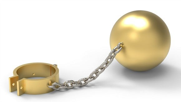 A golden shackle chained to a gold ball.