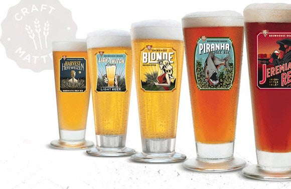 A selection of five BJ's beers lined up from light to dark, from left to right