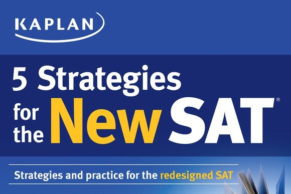 Blue page featuring Kaplan's SAT prep strategies.