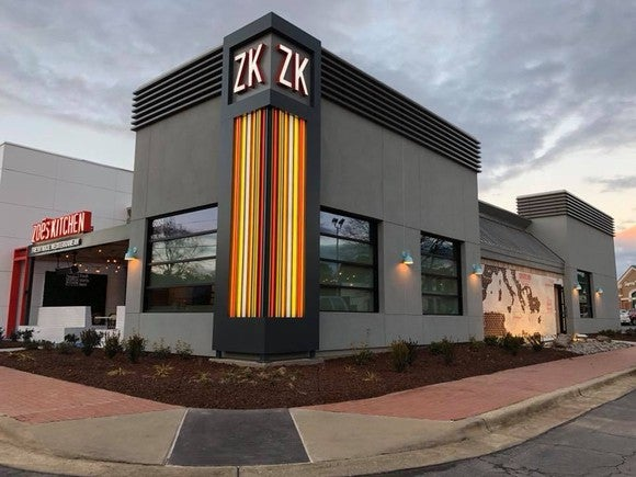 Zoe's Kitchen's new store format, seen from the exterior.