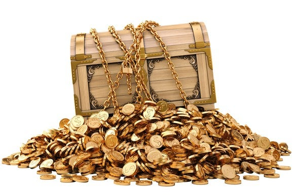 Pile of coins with a treasure chest on top.