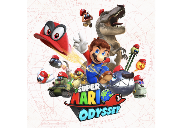 Game art of Nintendo's Super Mario Odyssey depicting different game characters.