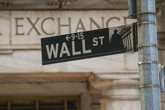 Wall Street sign post with the word Exchange on a building in the background