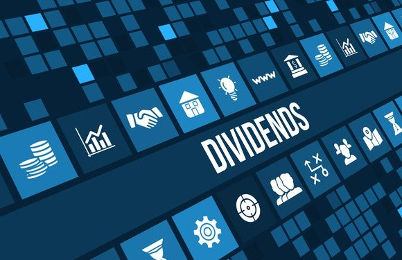 Blue background with word DIVIDENDS and sector symbols arranged as square tiles on a slanted field.
