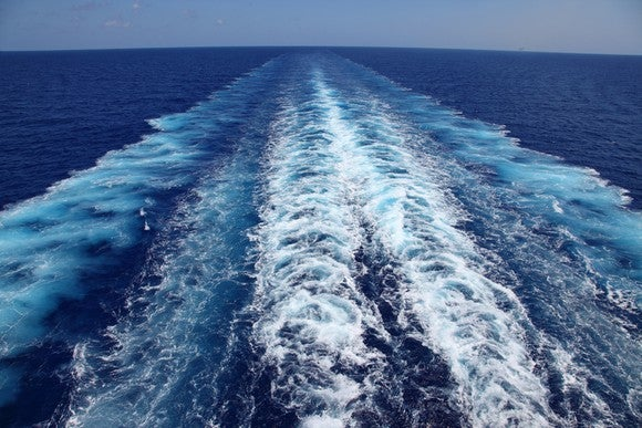 A ship's wake in the open ocean.