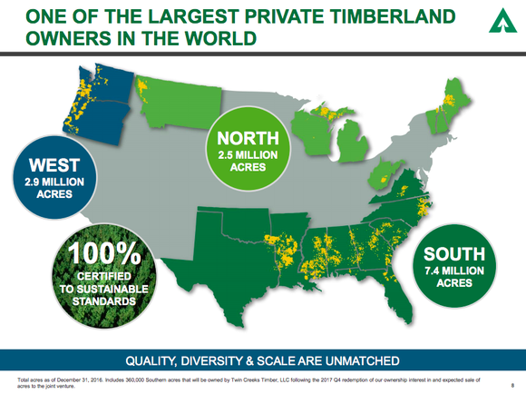 A map of the United States showing Weyerhaeuser's timberland