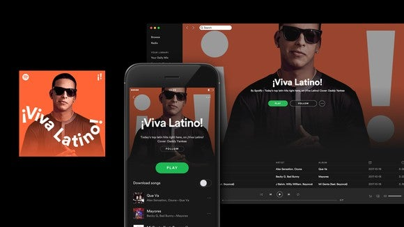 Screenshots of Spotify's Viva Latino playlist on desktop and mobile.