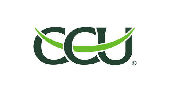 Logo for Compania Cervecerias Unidas, with green letters CCU and an upward lighter green swoosh.