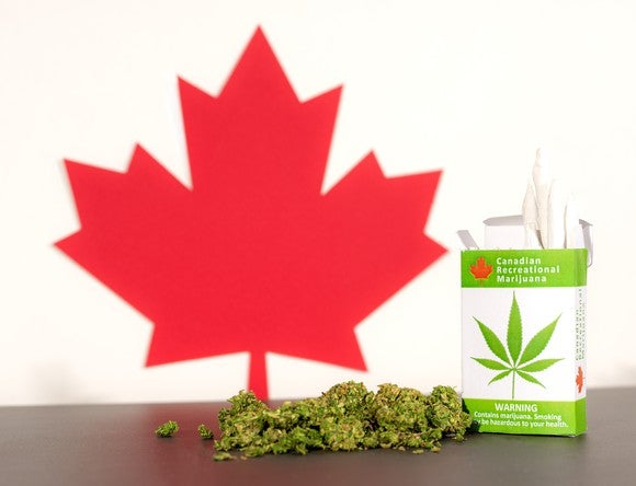 Canadian maple leaf next to marijuana buds and box of marijuana cigarettes