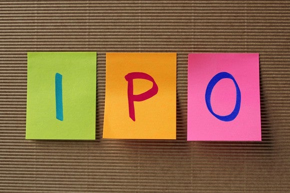 "The letters ""I"" ""P"" and ""O"" on Post-It notes."