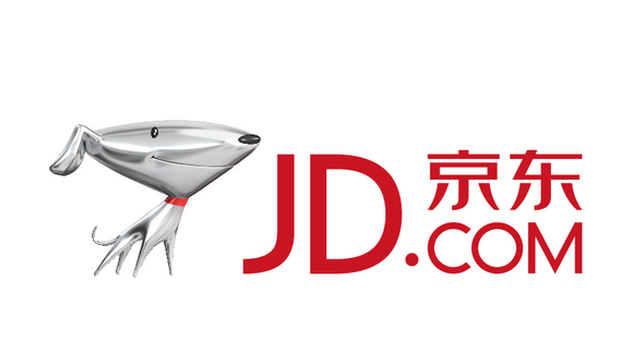 JD.com's logo, featuring a sleekly metallic cartoon dog.