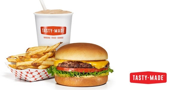 A Tasty Made burger, fries, and a shake.