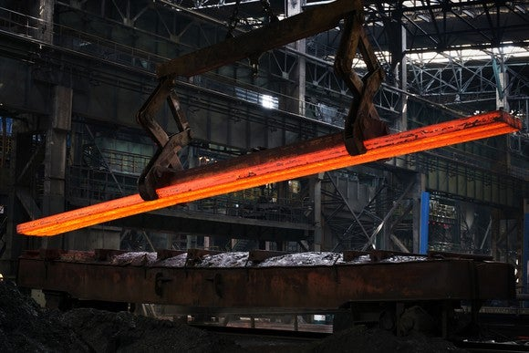 Hot Steel bar in a manufacturing facility
