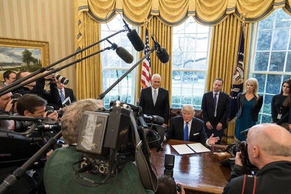 President Donald J. Trump signs Presidential Memorandum regarding the Keystone XL Pipeline.