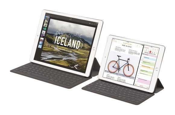 Apple's iPad Pro tablets with keyboards attached.