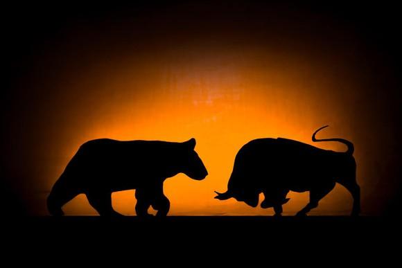 A bull and bear face off.