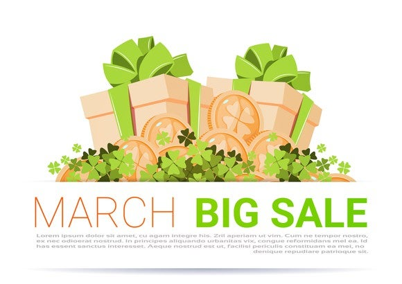Boxes tied with green bows surrounded by shamrocks with caption March Big Sale.