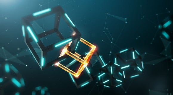 Two interlocked cubes, or chained blocks, illustrating the mechanics of the blockchain.