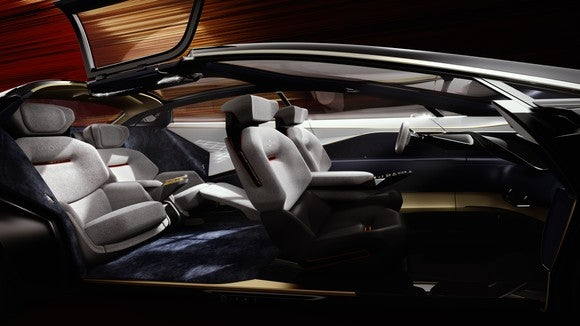 The Lagonda Vision Concept's interior, with futuristic touchscreen control surfaces.