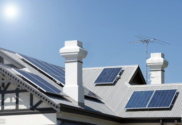 A set of residential solar panels in action.